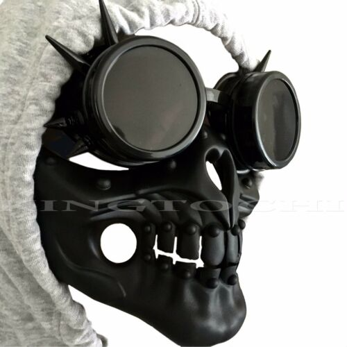 Steampunk Rivet Vintage Goggles & Half Face Skull Burning Man Cosplay Mask
