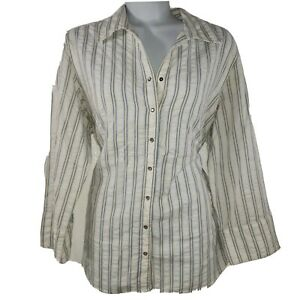 Columbia XCO Womens Top Size Medium Long Sleeve Button Down Striped Cotton Shirt
