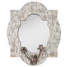 Clayre Eef Spiegel Wandspiegel Kerzenhalter Vintage Shabby Deko Holz 38*7*46 cm