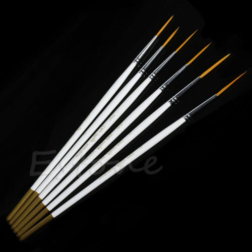 6Pcs Nylon Hair Round Brush Hook Line Pen Artist Paint Draw Painting Craft Set
