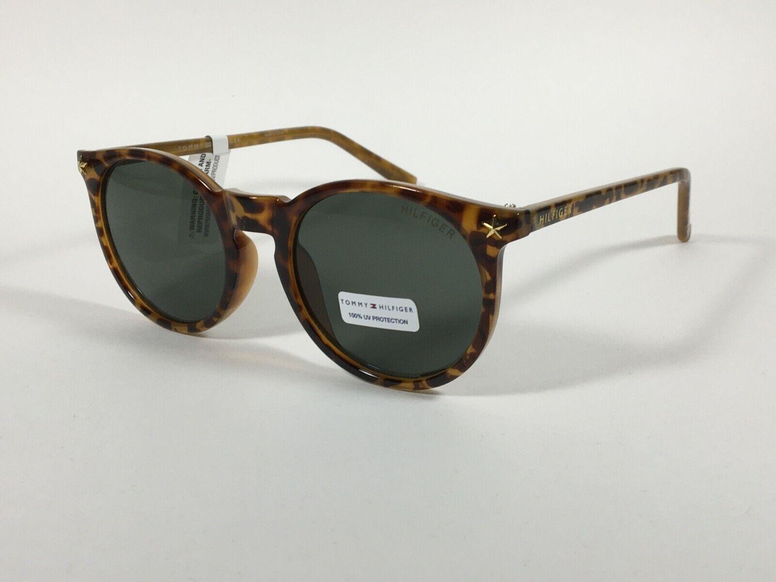 Authentic Tommy Hilfiger Biddy Round Keyhole Sunglasses Milk Tortoise Green Lens