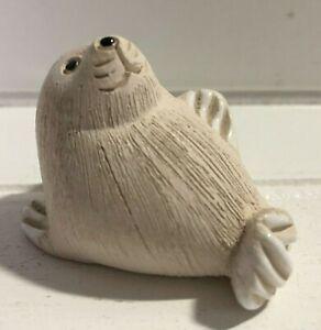 Artesania Rinconada Seal Pup Baby Figurine Uruguay Art Pottery Handmade Vintage