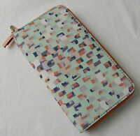 Fossil Key Blue Print Nylon Per Zip Clutch Wallet