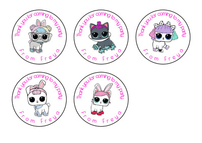 LOL Dolls Pet Cat Personalised Thank You Stickers Party Bag Sweet Cone Birthday