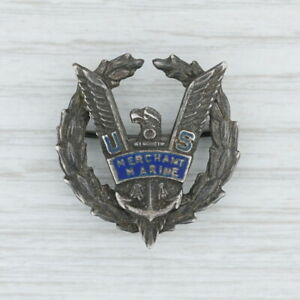 US-Merchant-Marine-Badge-Vintage-Sterling-Silver-Enamel-Eagle-Pin