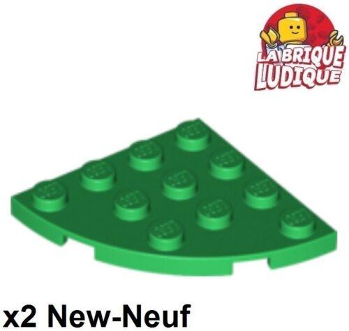 2x Plate Round plaque ronde corner 4x4 vert//green 30565 NEUF Lego