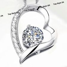 Heart Necklace Diamond Pendant Silver Xmas Gifts for Her Women Mum Wife Girls C3