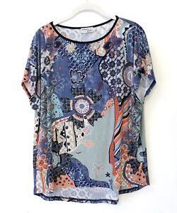 b03014e6569 Women s Scarf Print Floral Blouse Top Blue Coral Marguerite By Mako ...
