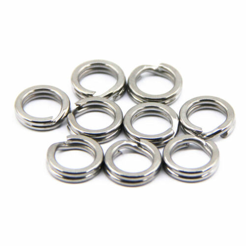 50pcs Stainless Steel Fishing Lure Split Ring Snap Double Loop Tackle Connector
