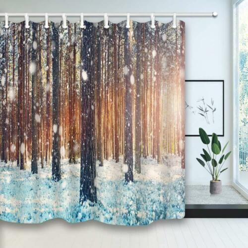 Winter Forest Shower Curtain Pine Trees Covered with Snow 12Hooks Included
