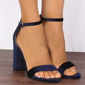 1b08ad19af Image is loading Navy-Blue-Baroque-Velvet-Barely-There-Strappy-Sandals-