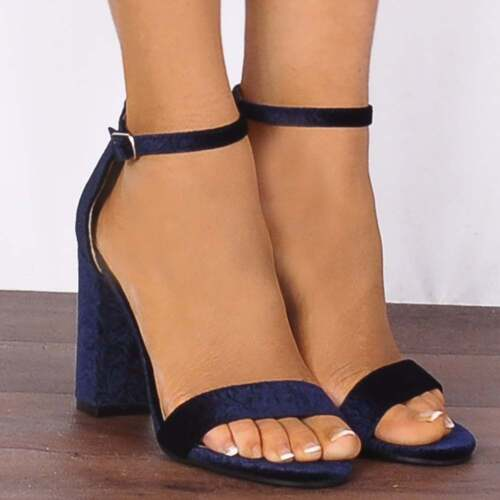 Navy Blue Baroque Velvet Barely There Strappy Sandals Heeled High Heels Shoes