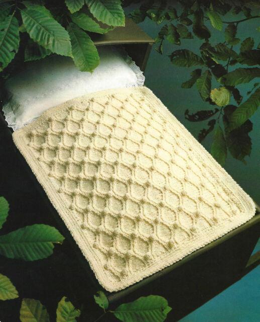 Baby Pram Blanket Knitting Pattern Aran Cot 315 Ebay