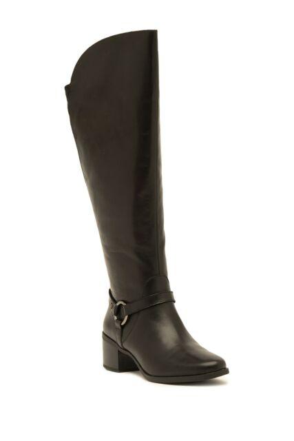Anne Klein Womens Jamari Leather Almond Toe Knee High, Black leather, Size 5.5 T