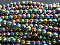 1 Strand (55 Beads) x 7mm Rainbow Coloured Non-Magnetic Hematite Round Beads