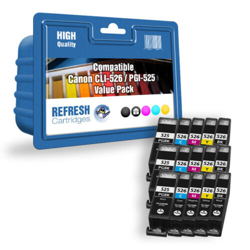 Refresh Kartuschen PGI-525//CLI-526 Tinte Kompatibel mit Canon Drucker