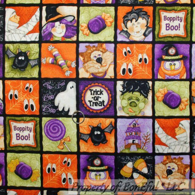 BonEful Fabric FQ Cotton Quilt Black Orange B&W Patchwork Block Halloween Square