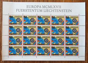 Liechtenstein-CEPT-474-postfrisch-kompletter-Bogen-MNH-Europa-1967