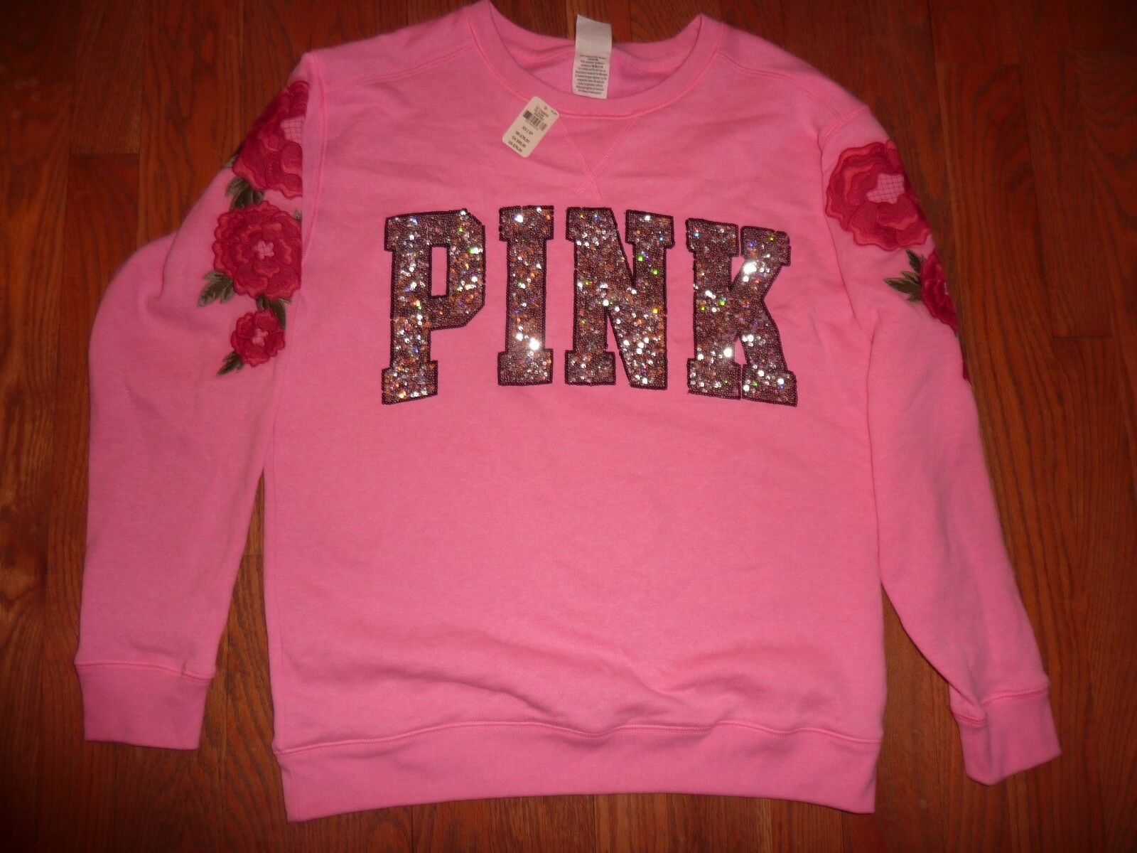 VICTORIAS SECRET PINK BLING EMBROIDERED FLORAL  PINK  CREW SWEATSHIRT NWT