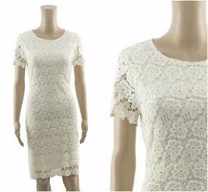 ex-M-amp-S-Marks-amp-Spencer-Cream-Pure-Cotton-Floral-Lace-Shift-Occasion-Dress
