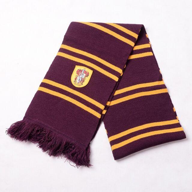 Harry Potter Striped Crest Scarf Gryffindor/Slytherin/Hufflepuff/Ravenclaw Logo