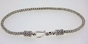 Bali-Solid-Silver-Snake-Chain-Sterling-Silver-Bracelet-7-8-034-2-5mm-8-8-gms