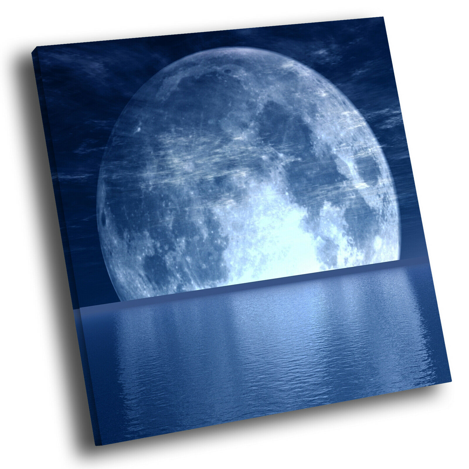 Blau Moon Ocean Nature Cool Square Scenic Canvas Wall Art Large Picture Print