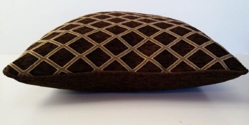large brown gold geometric chenille embroidered piping throw pillow for sofa usa