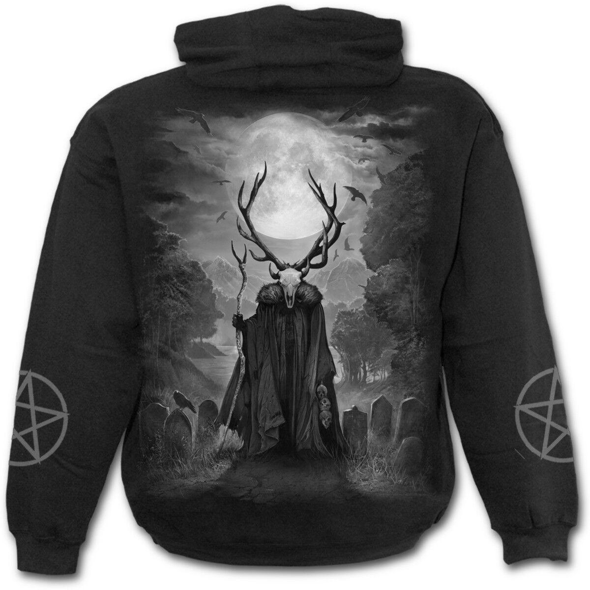 SPIRAL DIRECT HORNED SPIRIT Mens Hoodie Native Spirit Goth Wild Biker Hood
