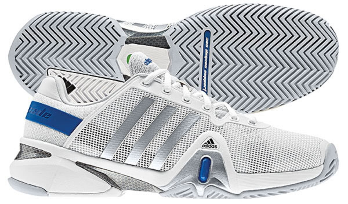 NEW MEN'S ADIDAS TENNIS ADIPOWER BARRICADE 8 (RUNWHT/METSIL/BLUEBEA) TENNIS ADIDAS SHOES. $140 76ece4