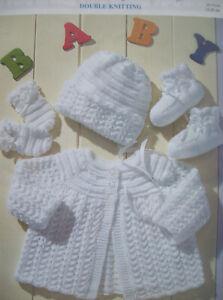 Baby-girls-MATINEE-COAT-HAT-KNITTING-PATTERN-DK-Premature-12-mths-cardigan