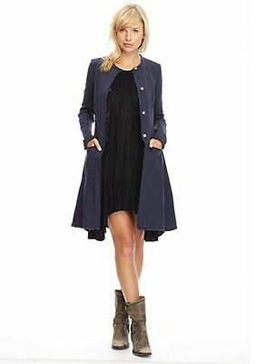Free People Duster Fit /& Flare Jacket Coat Indigo Blue Combo Sz XS S M L $228NWT