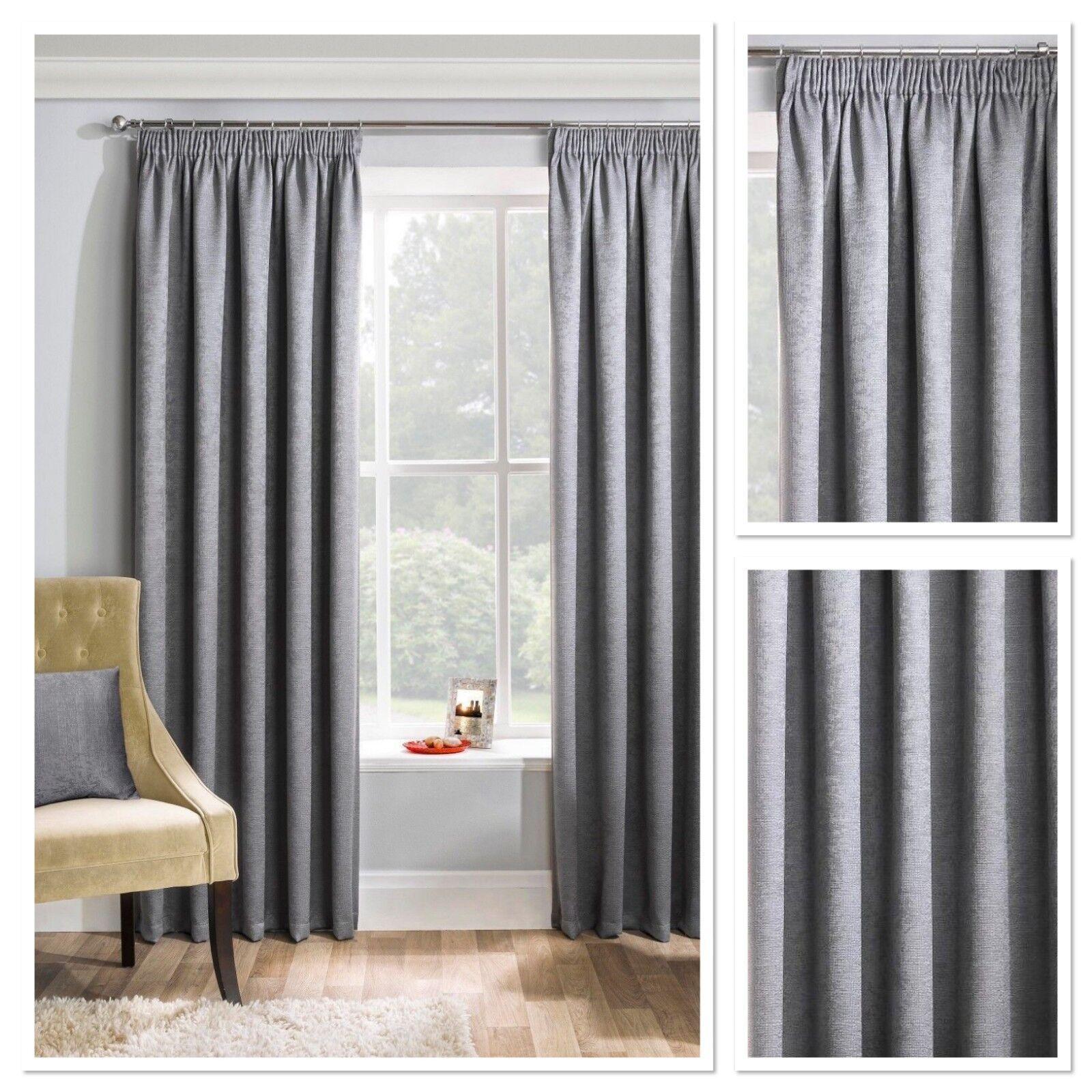 Matriz tejido con textura Blockout termal Totalmente Forrado Cortinas PLISADAS DE LÁPICES gris