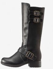 New Woman's Tommy Hilfiger Tall Charlotte Black Zip Up Boots Size 4 w/ Buck