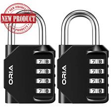2 Pack Combination Lock Resettable 4 Digit Weatherproof Heavy Duty Padlock