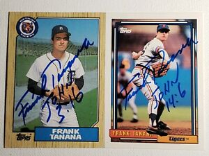 1987-amp-1992-Topps-Frank-Tanana-Auto-Autograph-Cards-Tigers-Signed-Lot-726-458