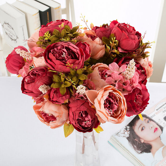 Flores Artificiales Ramo de peonías Seda Rosa Bonito Boda Shabby Chic Vintage