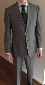 Z-Zegna-City-Suit-52-R-Wool-Silk-Blend-Excellent-Condition