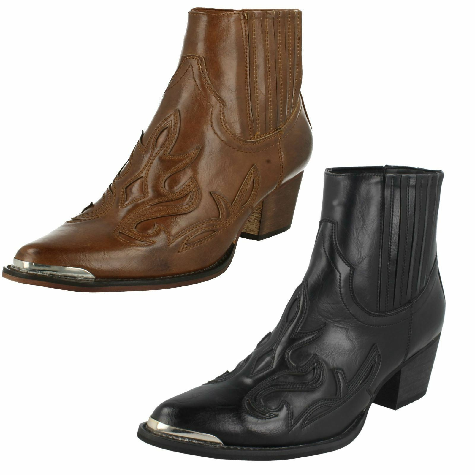 Ladies F5R0940 Pull On Cowboy Ankle Boots By Down To Earth