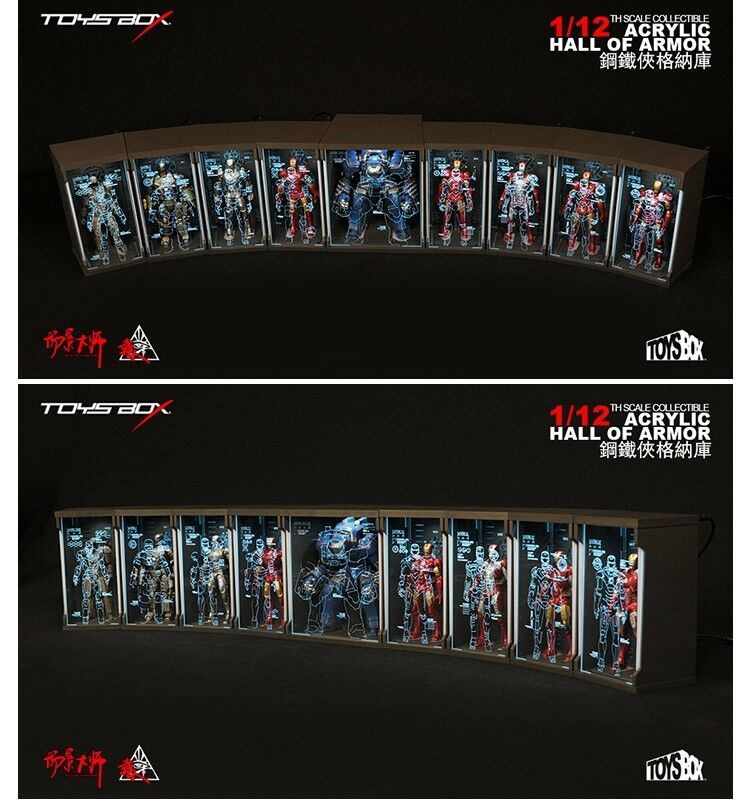 TOYS-BOX Comicave SHF Iron Man Acrylic Hall of Armor  Display Dust 1 12 Box Toys  100% authentique