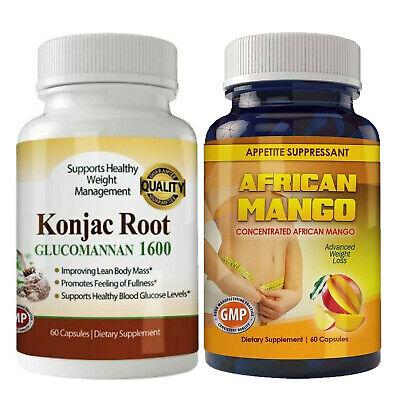 Glucomannan Konjac Root African Mango Weight Loss Diet Caps Combo