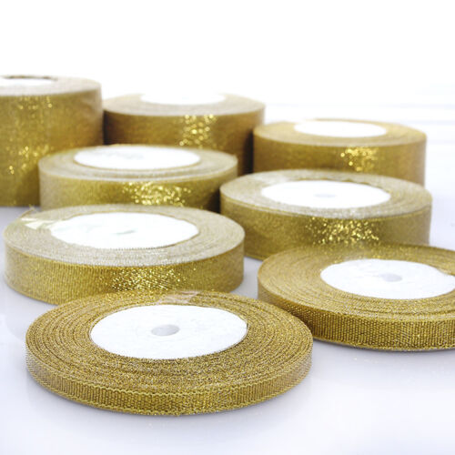 25 Yards Roll Gold//Silver Sheer Organza Ribbon Party Wedding Favor 6-40mm FO