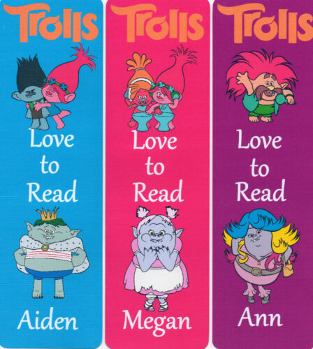 3 CHILDRENS PERSONALISED BOOKMARKS,TROLLS LOVE TO READ.18cm x5cm laminated