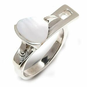 Mother-Of-Pearl-Natural-Gemstone-Handmade-925-Sterling-Silver-Ring-Size-8-5-R-65