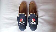 "CUTE Women's $450 Stubbs and Wootton Denim & Leather ""PIRATES"" Mule Slipper Shoe"