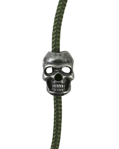 Crâne cordon Bouchons-Silver Paracord Camping Sac à dos Ranger Perles Pack de 10