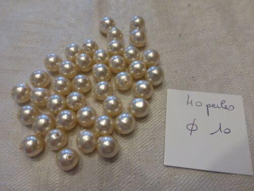 lot de 40 perle en verre  nacré ronde lisse diam 10 mm perle vintage