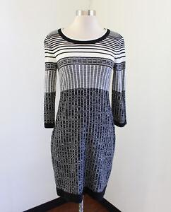 c5d1195baad1e Ivanka Trump Womens Gray Black White Striped Grid Knit Dress Size S ...