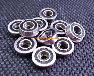 10pcs MF105-2RS 5x10x4 Black Rubber Sealed Flanged Ball Bearings