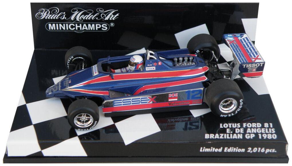 Minichamps LOTUS FORD 81  Essex  brésilien GP 1980-e de Angelis, échelle 1 43,